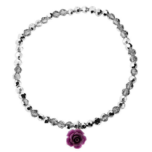 Lilac Rose 925 Sterling Silver and Crystal Bead Stretch Bracelet