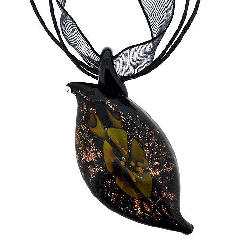 Chunky Pretty Green Flower Teardrop Glass Pendant with Sparkling Gold Accents on a Black Ribbon Necklace