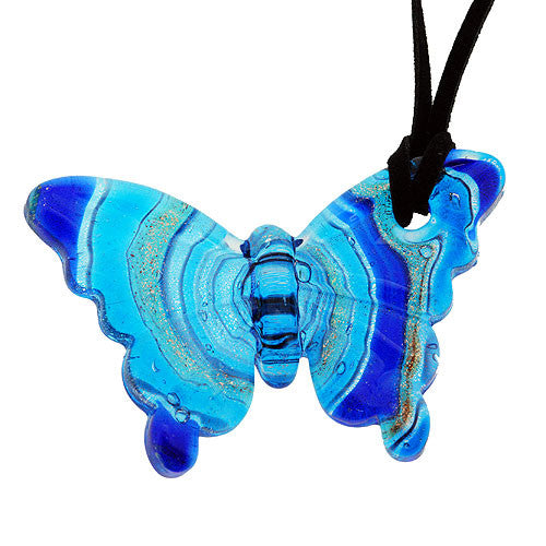 Chunky Turquoise Glass Butterfly Pendant with Gold and Silver Accents on a Necklace