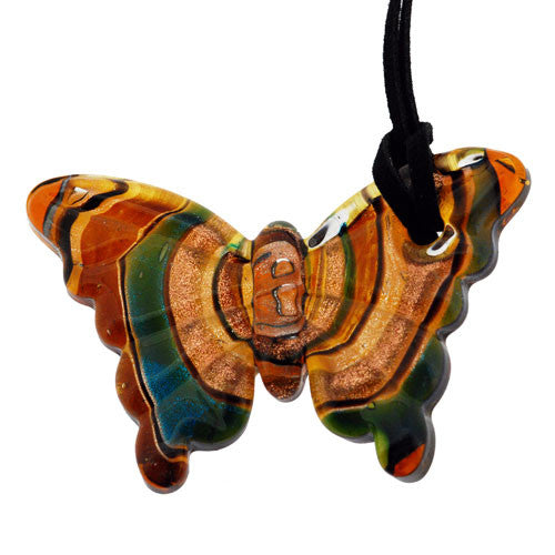 Turquoise and Bronze Glass Butterfly Pendant with Gold and Silver Accents on a Cord Necklace