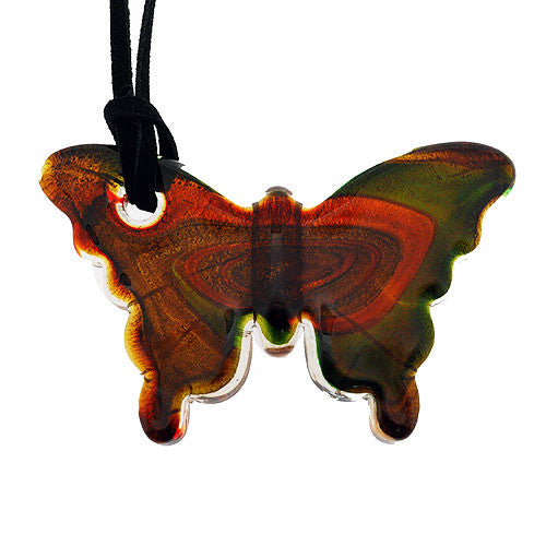 Bronze and Green Glass Butterfly Pendant with Gold and Silver Accents on a Cord Necklace