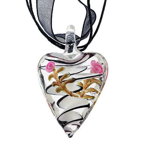 Chunky Pretty Pink Rose and Black and White Swirl Heart Pendant on a Black Ribbon Necklace