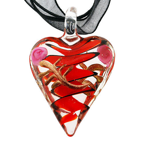 Chunky Pretty Pink Rose and Red and Black Swirl Heart Pendant on a Black Ribbon Necklace
