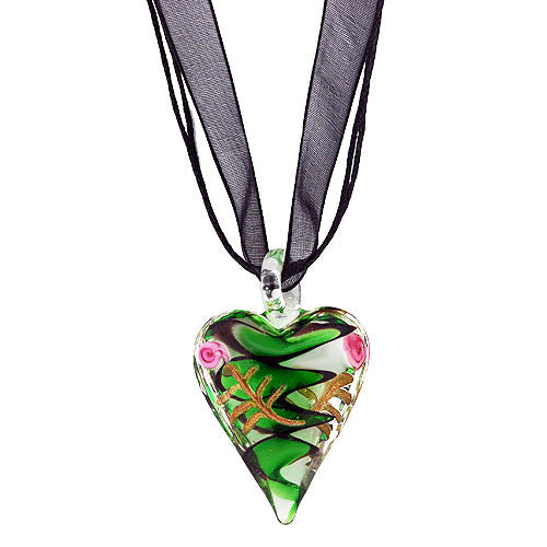 Chunky Pretty Pink Rose and Green and Black Swirl Heart Pendant on a Black Ribbon Necklace
