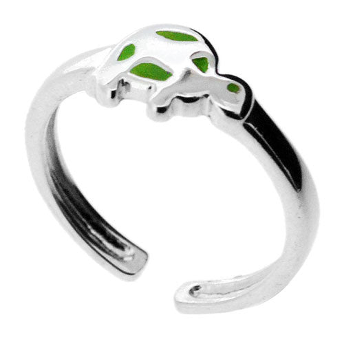 925 Sterling Silver Little Green Turtle Toe Ring