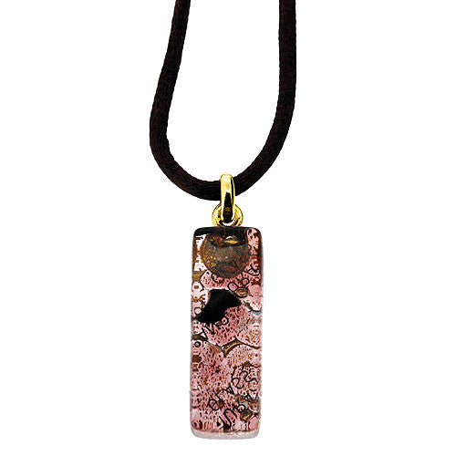 Venetian Murano Glass Amethyst and 24 Carat Gold Foil Pendant Necklace