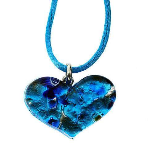 Venetian Heart Shape Murano Glass Ocean Blue and 925 Sterling Silver Foil Pendant Necklace