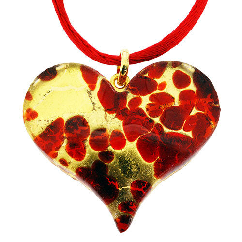 Venetian Heart Shape Murano Glass Scarlet Gold and 24 Carat Gold Foil Pendant Necklace