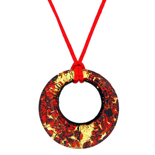 Venetian Murano Glass Scarlet and Gold Chunky Open Circle 24 Carat Gold Foil Pendant Necklace