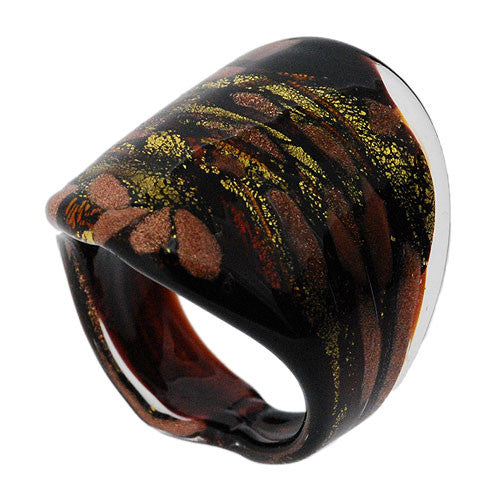 Venetian Murano Glass Chocolate Brown and Gold Chunky 24 Carat Gold Foil Ring UK Size Q