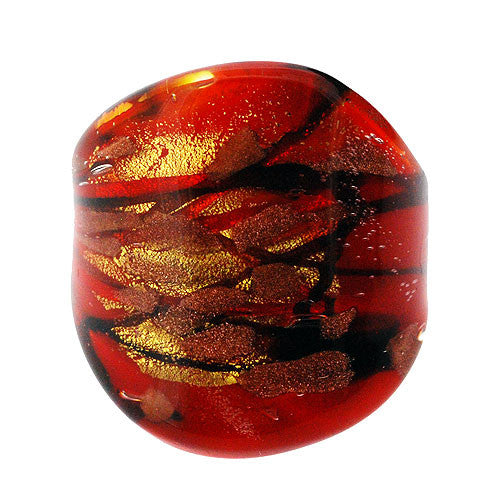 Venetian Murano Glass Scarlet Black and Gold Chunky 24 Carat Gold Foil Ring UK Size Q