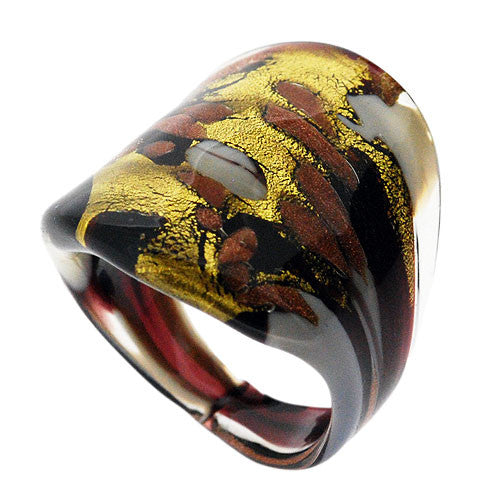 Venetian Murano Glass White Amethyst and Gold Chunky 24 Carat Gold Foil Ring UK Size Q