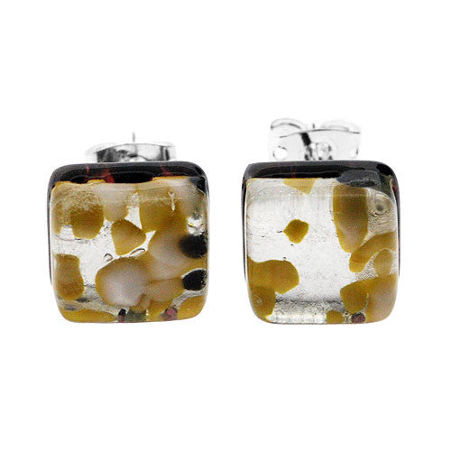 Venetian Murano Glass Silver and Yellow Square Earring Studs