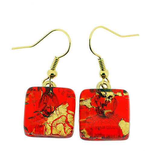 Venetian Murano Glass Red and Gold Marbling Square Earrings