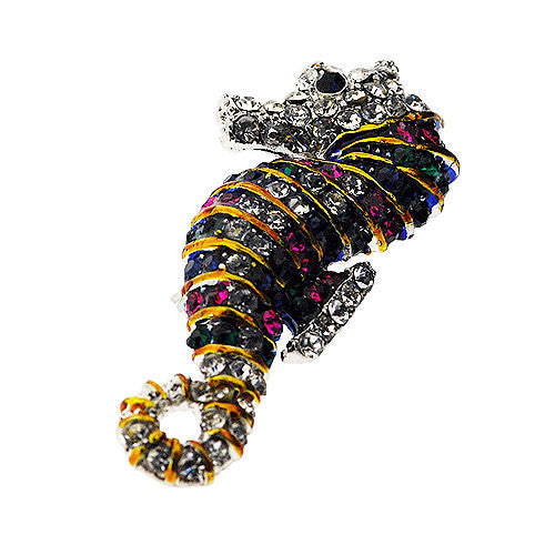 Seahorse Multicoloured Sparkling Diamante Brooch