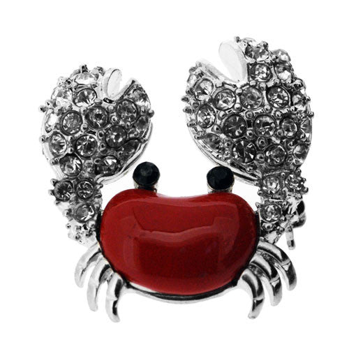 Little Red Lobster Sparkling Diamante and Silver Brooch