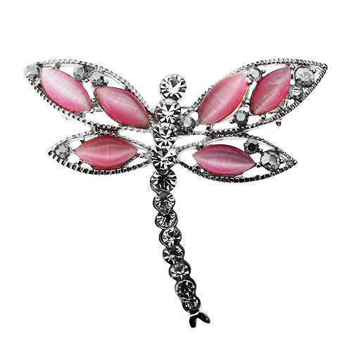 Pink Dragonfly and White Diamante Gemstone Sparkling Diamante Brooch