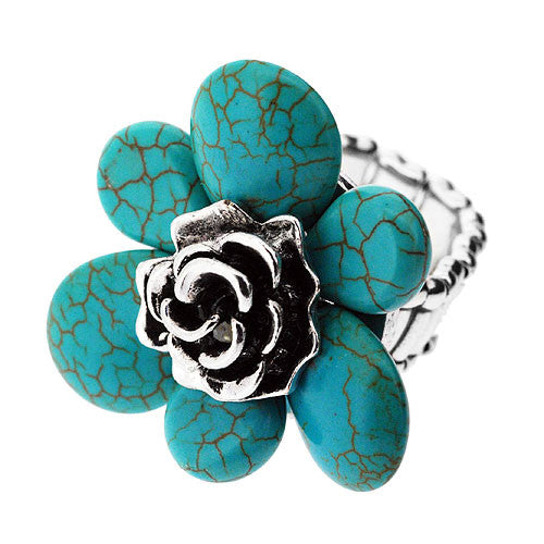 Large Flower Stretch Ring in Turquoise and Silver