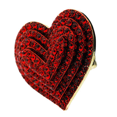 Very Large Love Heart Stretch Ring in Sparkling Red Diamante Gemstones