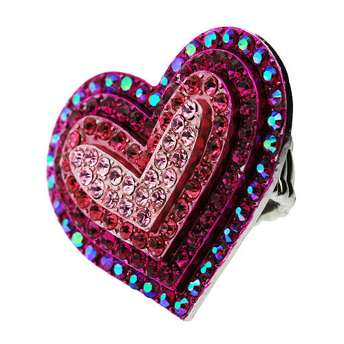 Very Large Loveheart Stretch Ring in Sparkling Pink and Aurora Borealis Diamante Gemstones
