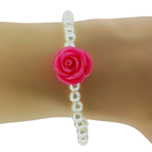 Cream Faux Pearl Stretch Bracelet with Bakelite Style Rose Pink Blossom