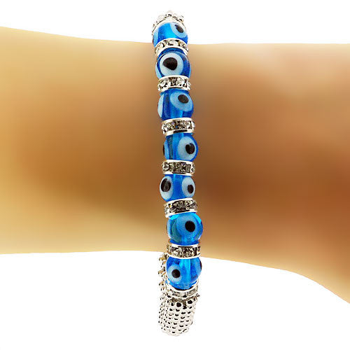 Turquoise Evil Eye and White Diamante Silver Popcorn Stretch Bracelet
