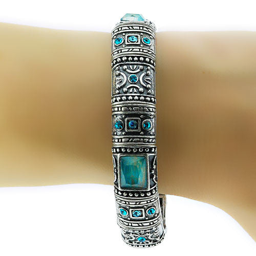 Turquoise Stone and Oxidised Silver Colour Square Bead Stretch Bracelet