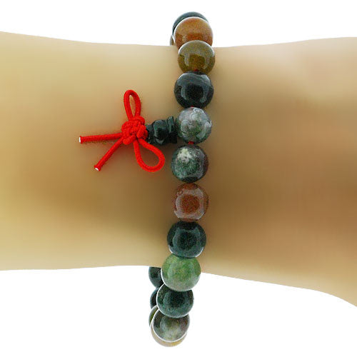 Buddha Stretch High Polish Bead Rosary Bracelet in Green with a Red Thread and Chinese Knot