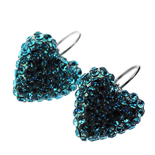 Turquoise Blue Crystal Love Heart Drop Earrings