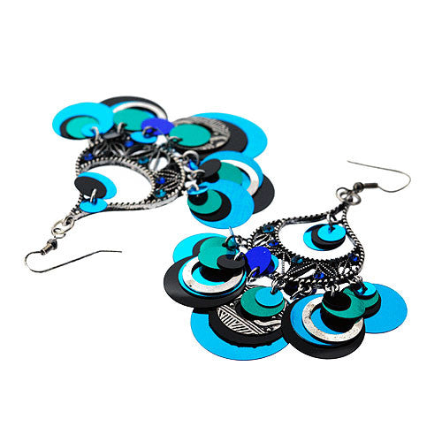 Boho Very Long Chandelier Drop Earrings in Turquoise Black and Silver