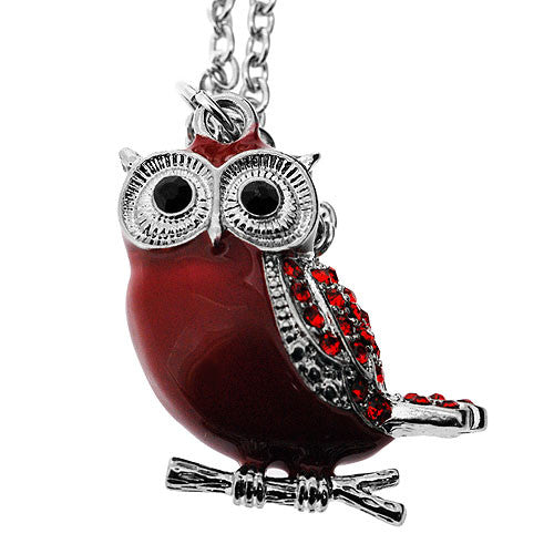 Chubby Dark Red Owl Pendant with Red Crystals on a Long 60 Centimetre Necklace