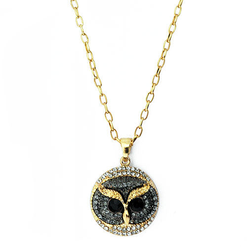 Wise Owl Pendant  in Black Hematite and White Crystals on a 60 Centimetre Necklace