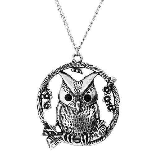 Large Cute Silver Owl Pendant with Flowers  on a Long 80 Centimetre Chain