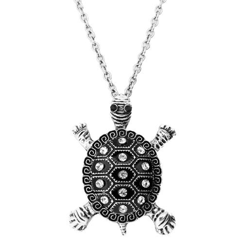 Large Tortoise Pendant with Sparkling White Diamantes on a Long 80 Centimetre Necklace
