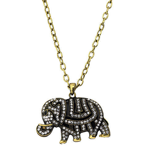 Large Sparkling White Diamante Pave Elephant Pendant on a 60 Centimetre Necklace