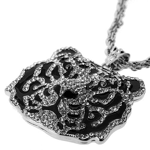 Amazing Large Sparkling White Diamante Tiger Pendant on a High Polish 70 Centimetre Necklace