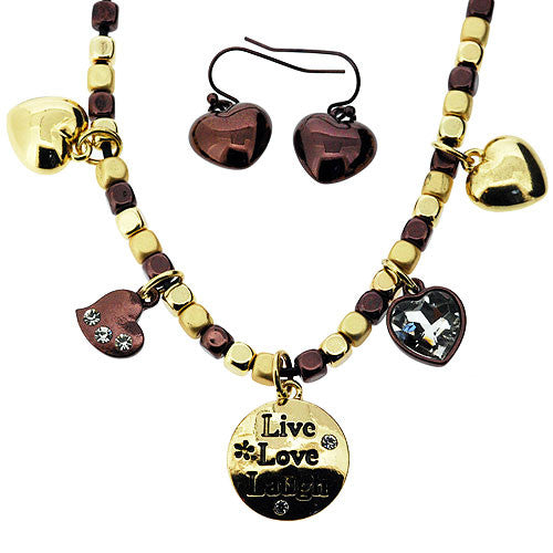 Boho Live Love Laugh Jewellery Set of Necklace and Earrings in Gold and Bronze
