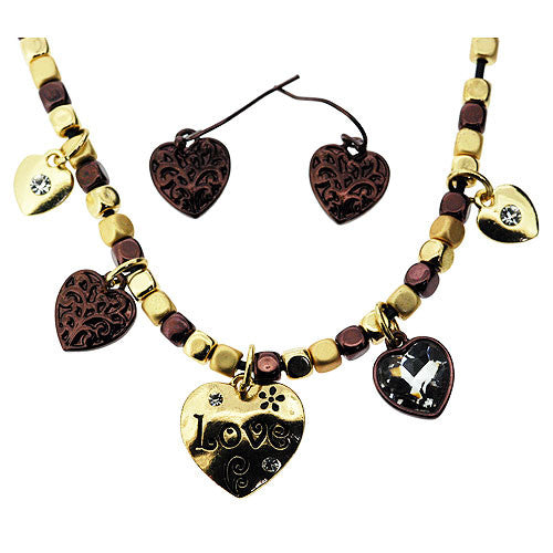 Boho Love Heart Jewellery Set of Necklace and Earrings in Gold and Bronze