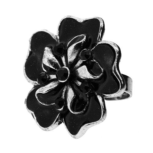 Adjustable Black and Silver Boho Cocktail Flower Ring with Black Stones