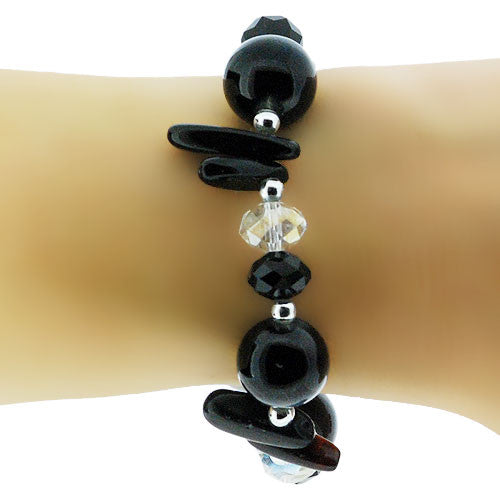 January Birthstone Black Jet Bracelet with Glass and Crystal Beads