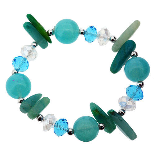 March Birthstone Semi Precious Aquamarine Stretch Bracelet with Glass and Crystal Beads
