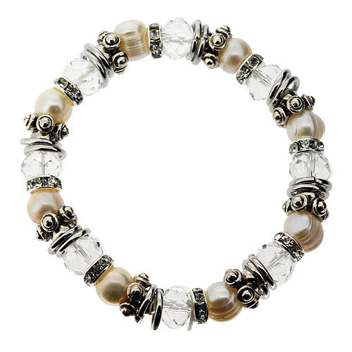 June Birthstone Freshwater Pearl Crystal and Diamante Stretch Bracelet