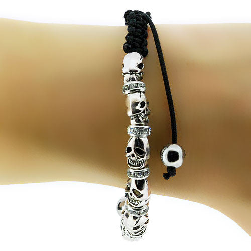 Skulls and Diamante Bead Chinese Black Cord Adjustable Bracelet