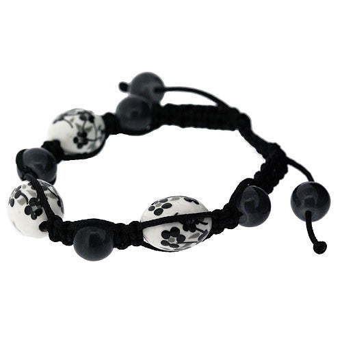 Friendship Adjustable Bracelet with Pretty Black and White Ceramic Flower Bead