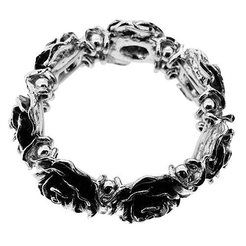 Large Heavy Bead Silver Crown of Roses Stretch Bracelet