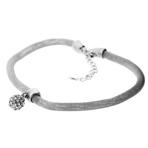 Silver Mesh Necklace with Large Sparkling Diamante Ball Bead Charm