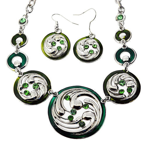Jewellery Set of Green Enamel and Gemstone Swirl Necklace and Drop Earrings