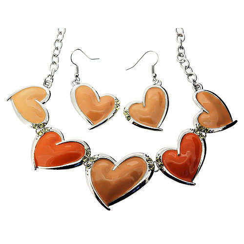 Jewellery Set of Peach Enamel and Gemstone Heart Necklace and Drop Earrings