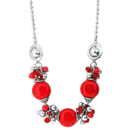 Pretty Red Boho Ceramic Bead and Crystal Charm Necklace 50 cm in Length