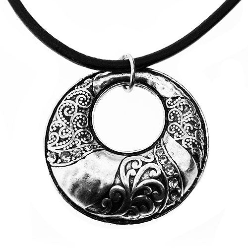 Vintage Style Silver Open Circle Pendant with Diamantes on a Leather Style Necklace 45 cm in Length